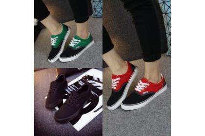 Fashionhomez 7629HH Korean Shoes (Pure Black , Black Green , Black Red)